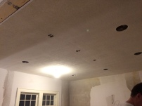 A roughed up ceiling